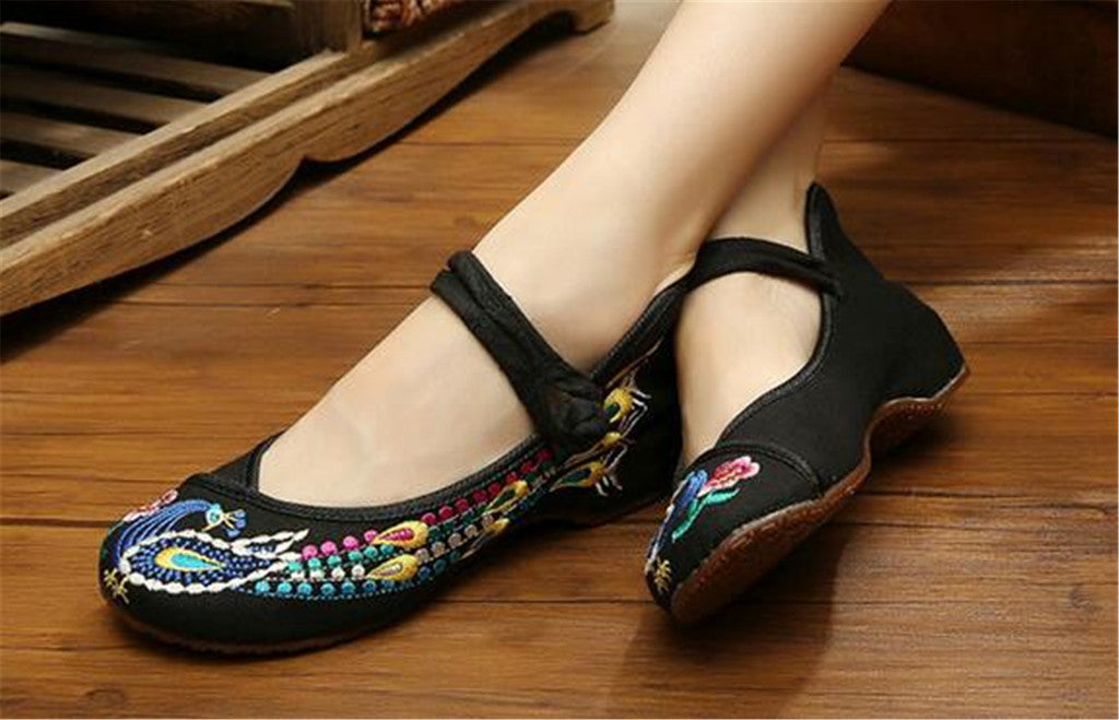Vintage Chinese Embroidered Ballet Ballerina Cotton Mary Jane Flat Shoes for Women in Bewitching Black Floral Design - Mega Save Wholesale & Retail - 3