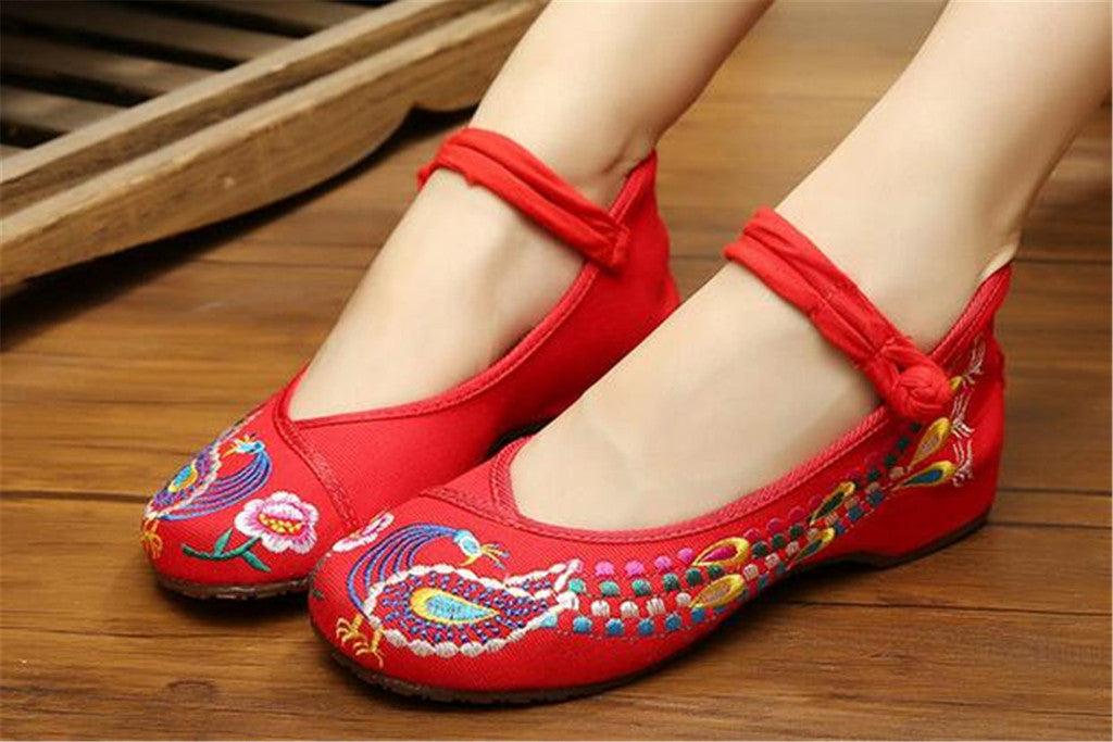 Vintage Embroidered Flat Ballet Ballerina Cotton Chinese Mary Jane Shoes for Women in Dazzling Red Floral Design - Mega Save Wholesale & Retail - 2