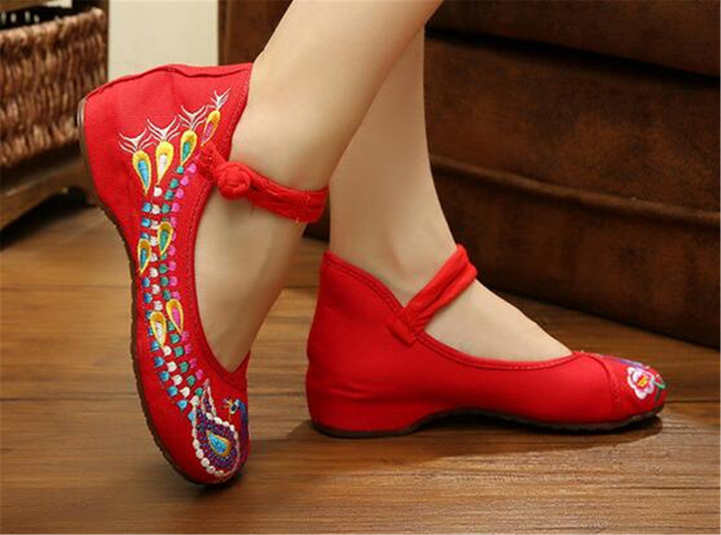 Vintage Embroidered Flat Ballet Ballerina Cotton Chinese Mary Jane Shoes for Women in Dazzling Red Floral Design - Mega Save Wholesale & Retail - 4