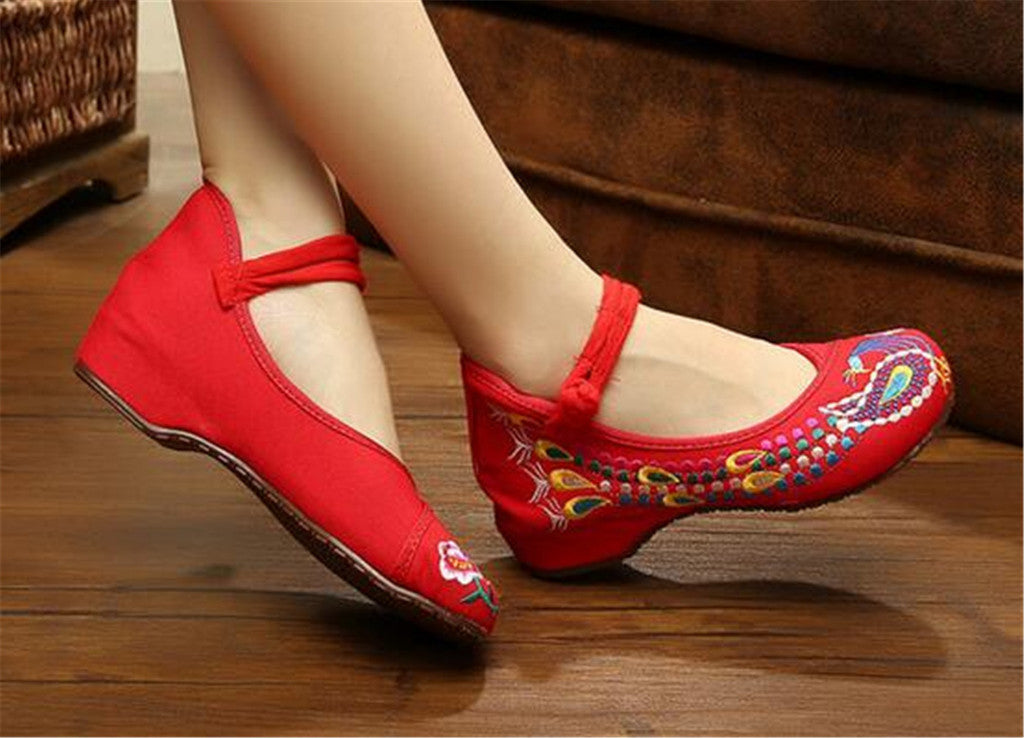 Vintage Embroidered Flat Ballet Ballerina Cotton Chinese Mary Jane Shoes for Women in Dazzling Red Floral Design - Mega Save Wholesale & Retail - 5