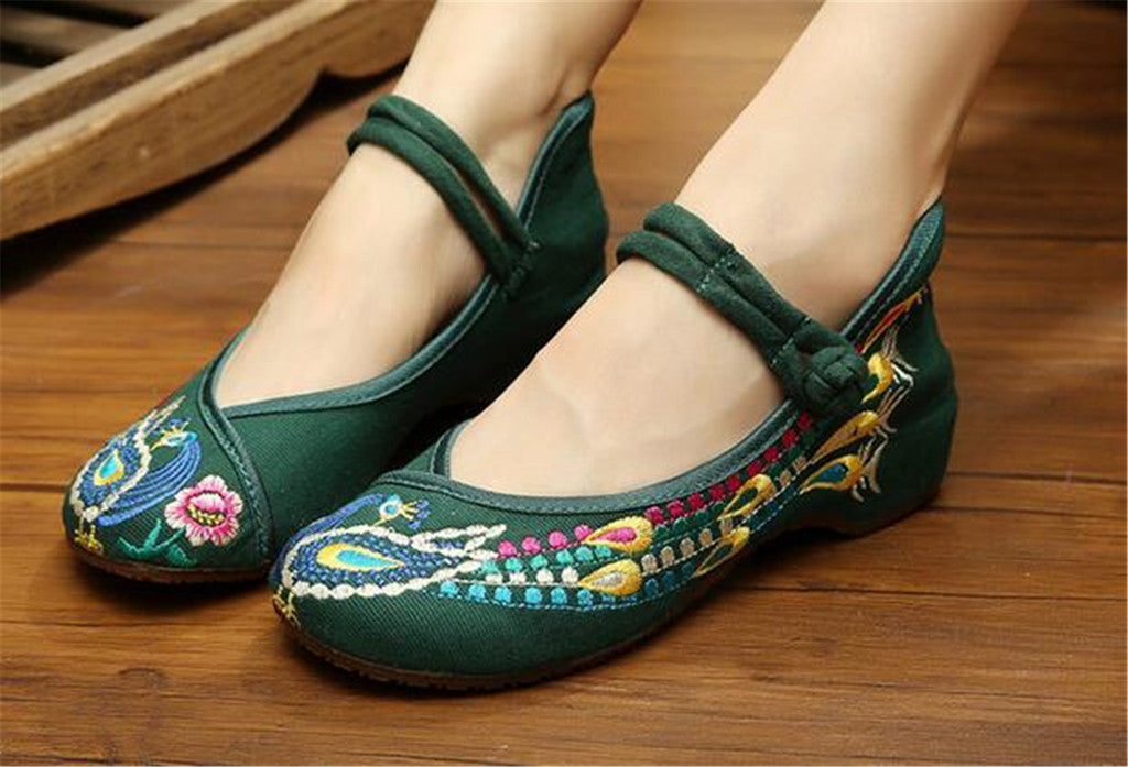 Chinese Embroidered Flat Ballet Ballerina Cotton Mary Jane Style Shoes for Women in Green Floral Design - Mega Save Wholesale & Retail - 4
