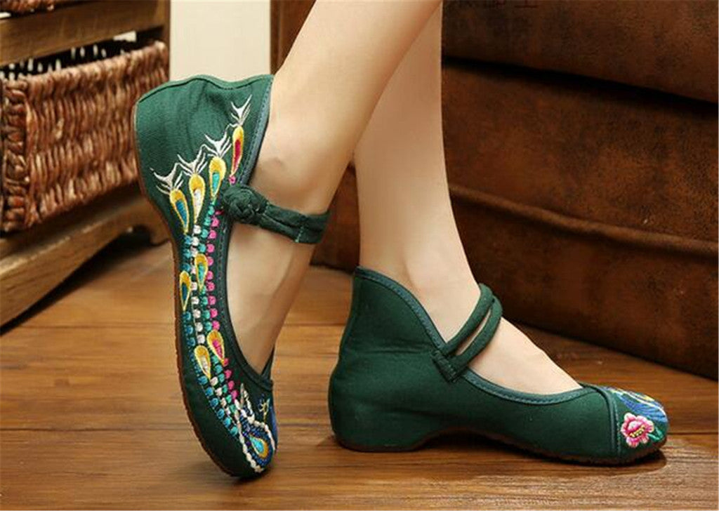Chinese Embroidered Flat Ballet Ballerina Cotton Mary Jane Style Shoes for Women in Green Floral Design - Mega Save Wholesale & Retail - 3