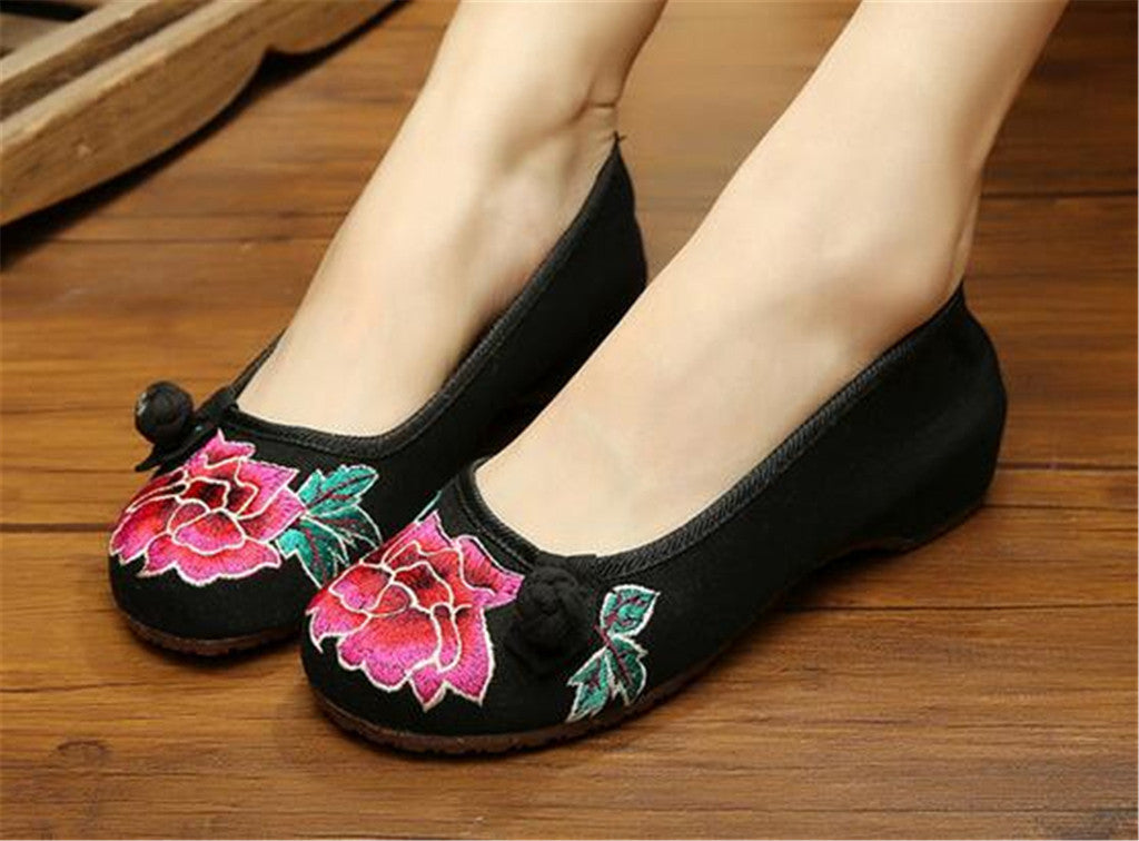 Vintage Chinese Embroidered Ballet Ballerina Cotton Black Flat Mary Jane Shoes for Women in Wonderful Floral Design - Mega Save Wholesale & Retail - 4