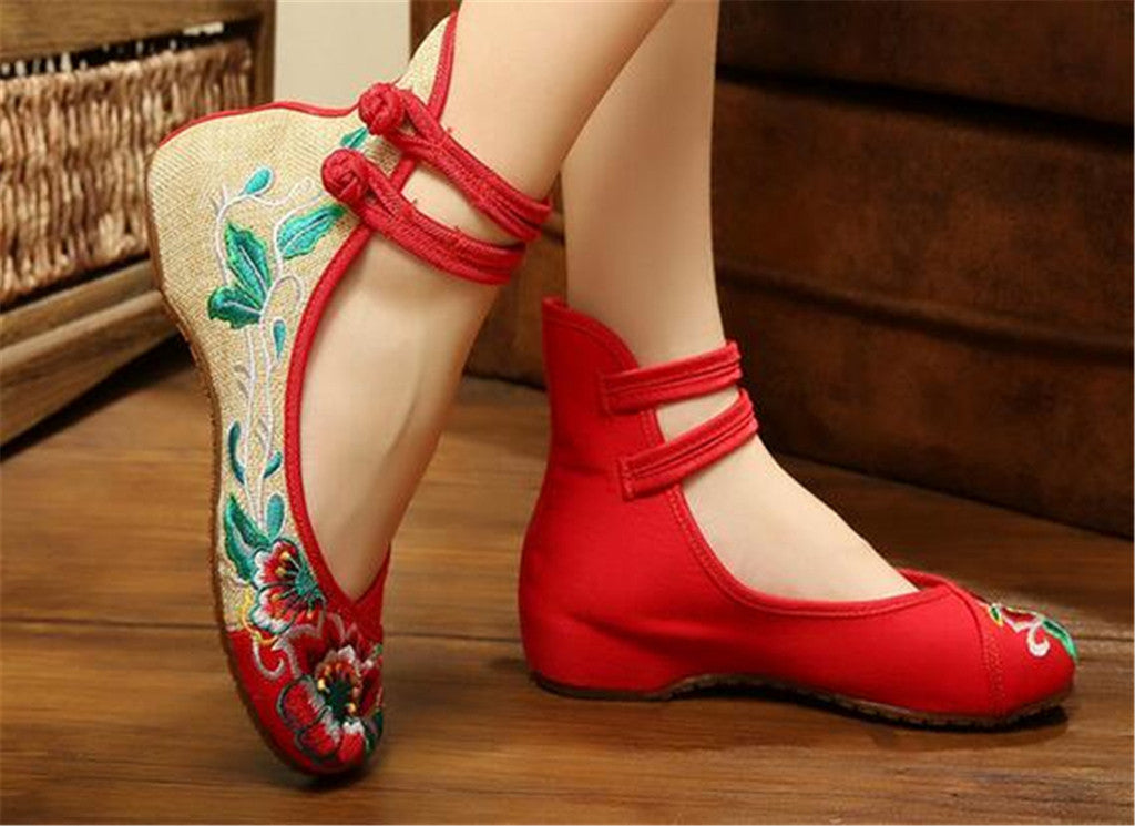Mary Jane Embroidered Flat Ballet Ballerina Cotton Traditional Chinese Shoes for Women in Red Floral Design - Mega Save Wholesale & Retail - 2