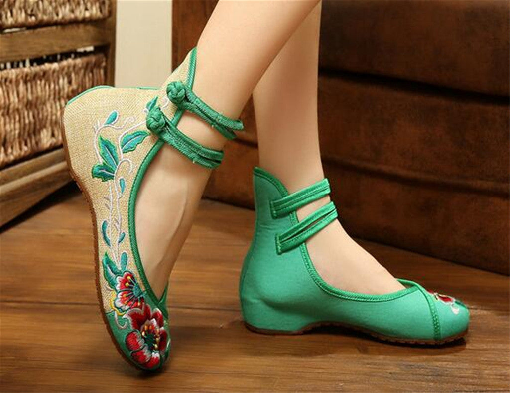 Vintage Embroidered Flat Ballet Ballerina Chinese Mary Jane Shoes for Women in Cotton Green Floral Design - Mega Save Wholesale & Retail - 2