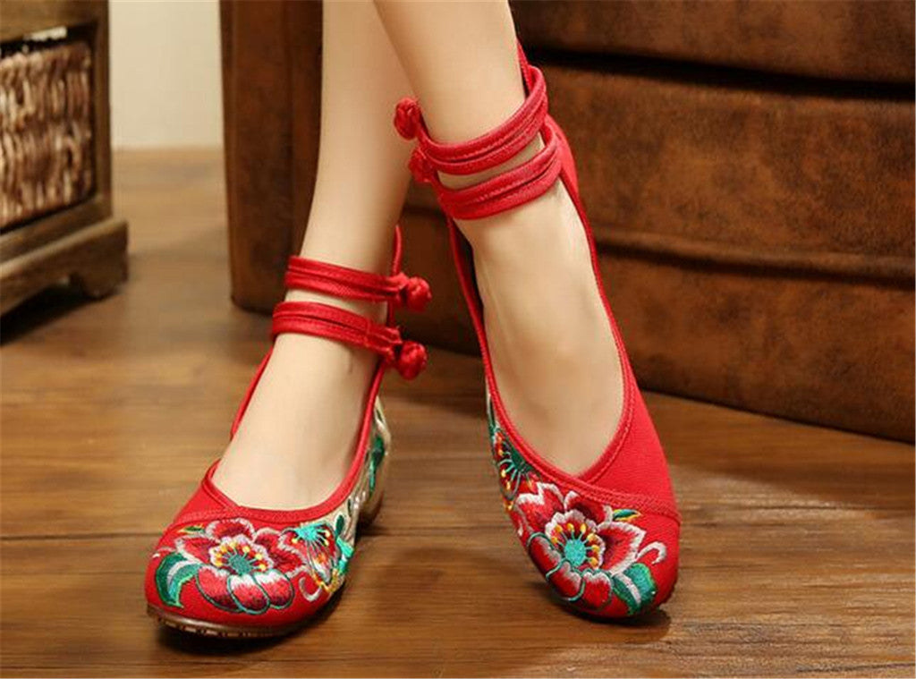Mary Jane Embroidered Flat Ballet Ballerina Cotton Traditional Chinese Shoes for Women in Red Floral Design - Mega Save Wholesale & Retail - 5