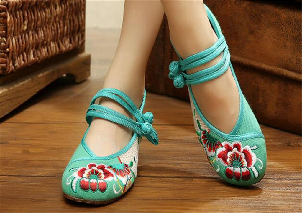 Vintage Chinese Embroidered Flat Ballet Ballerina Cotton Velvet Mary Jane Shoes for Women in Green Floral Design - Mega Save Wholesale & Retail - 4