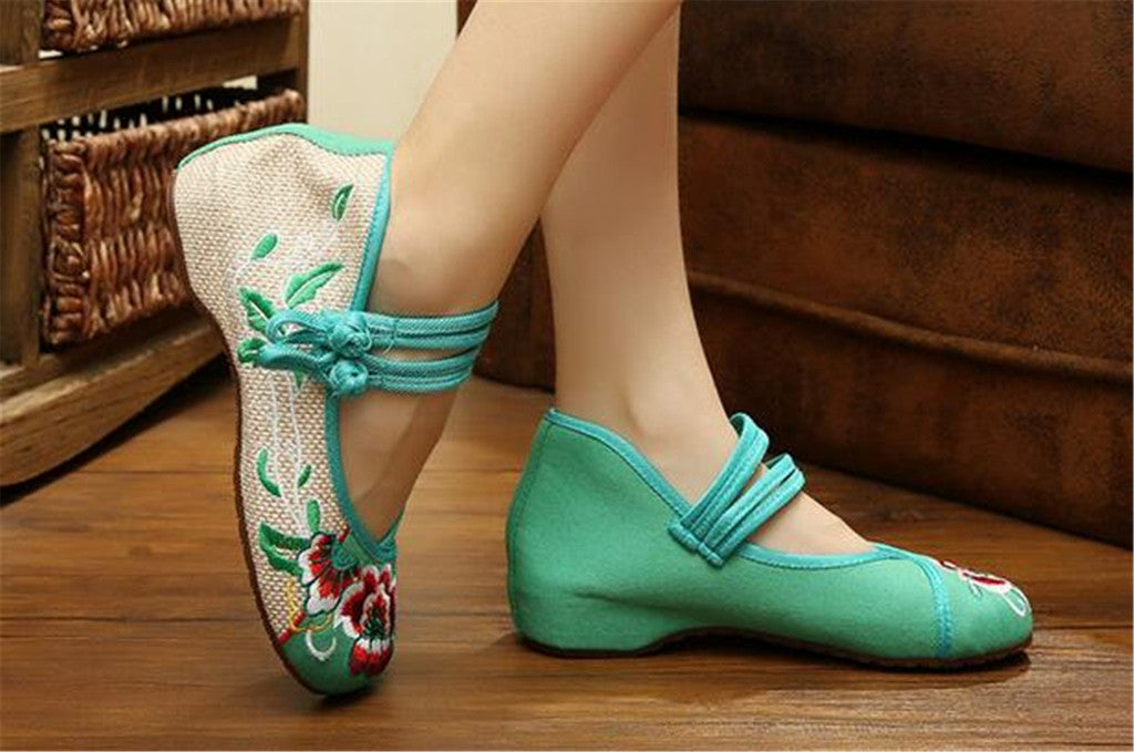 Vintage Chinese Embroidered Flat Ballet Ballerina Cotton Velvet Mary Jane Shoes for Women in Green Floral Design - Mega Save Wholesale & Retail - 5