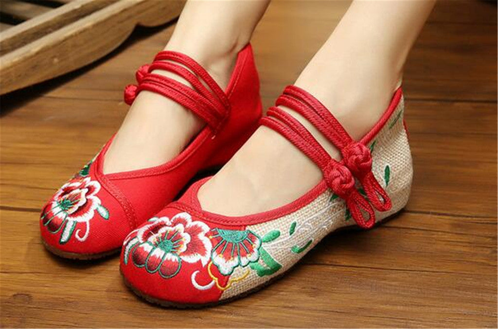 Chinese Embroidered Flat Ballet Ballerina Cotton Mary Jane Women loafer shoes in Ravishing Red Floral Design - Mega Save Wholesale & Retail - 5