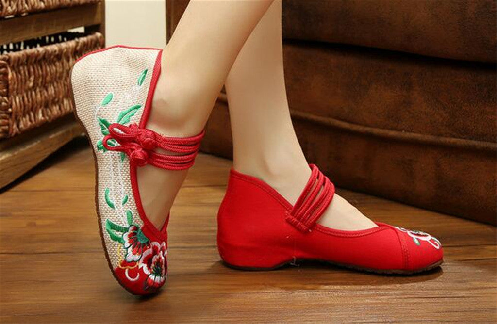 Chinese Embroidered Flat Ballet Ballerina Cotton Mary Jane Women loafer shoes in Ravishing Red Floral Design - Mega Save Wholesale & Retail - 4