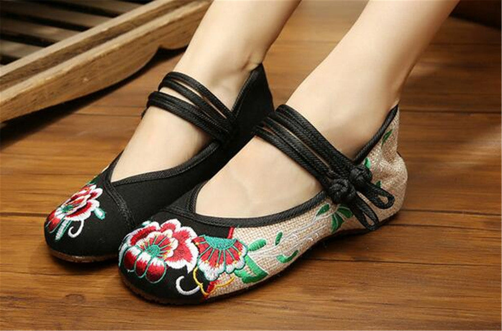 Mary Jane Chinese Embroidered Flat Ballet Ballerina Cotton Women Leather Loafers in Black Floral Delicate Design - Mega Save Wholesale & Retail - 2