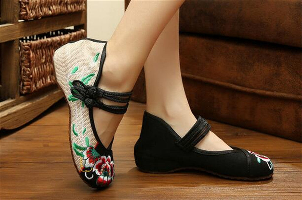 Mary Jane Chinese Embroidered Flat Ballet Ballerina Cotton Women Leather Loafers in Black Floral Delicate Design - Mega Save Wholesale & Retail - 4