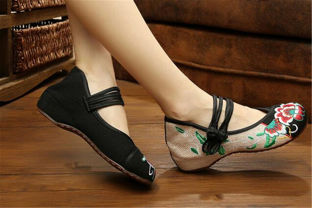 Mary Jane Chinese Embroidered Flat Ballet Ballerina Cotton Women Leather Loafers in Black Floral Delicate Design - Mega Save Wholesale & Retail - 5