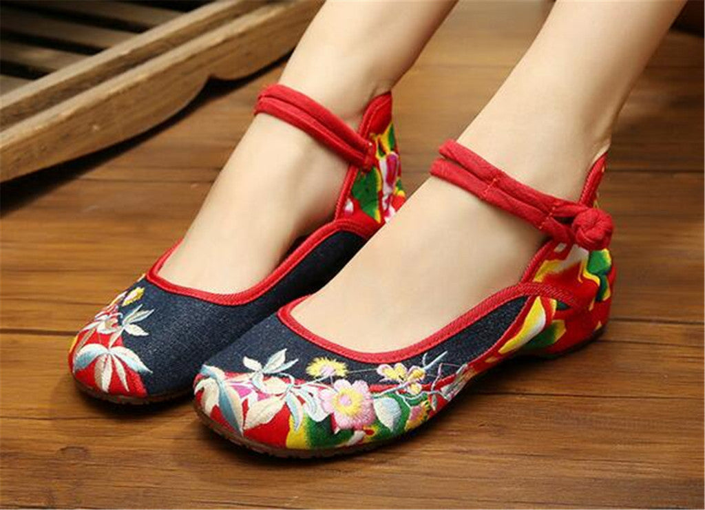 Mary Jane Chinese Embroidered Flat Ballet Ballerina Ladies Black Leather Loafers in Cotton Blue Floral Design - Mega Save Wholesale & Retail - 4