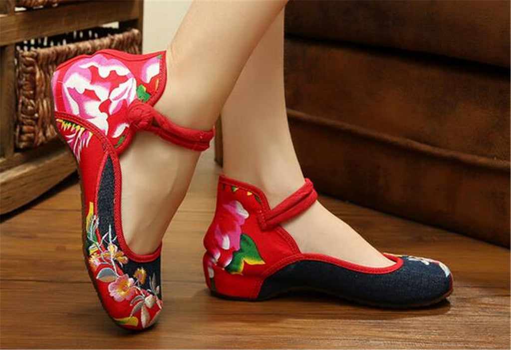 Mary Jane Chinese Embroidered Flat Ballet Ballerina Ladies Black Leather Loafers in Cotton Blue Floral Design - Mega Save Wholesale & Retail - 2