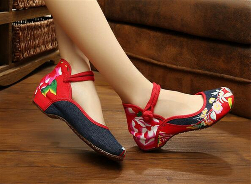 Mary Jane Chinese Embroidered Flat Ballet Ballerina Ladies Black Leather Loafers in Cotton Blue Floral Design - Mega Save Wholesale & Retail - 3