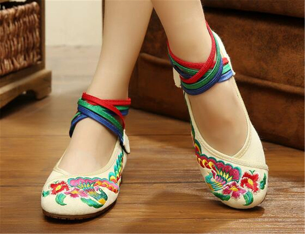 Chinese Embroidered Ballerina ladies Mary Jane Shoes with Colorful Ankle Straps & Floral Design - Mega Save Wholesale & Retail - 3