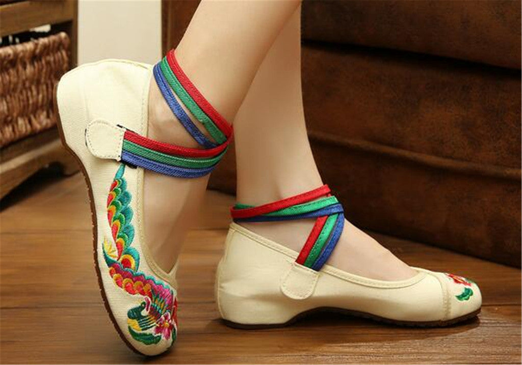 Chinese Embroidered Ballerina ladies Mary Jane Shoes with Colorful Ankle Straps & Floral Design - Mega Save Wholesale & Retail - 4