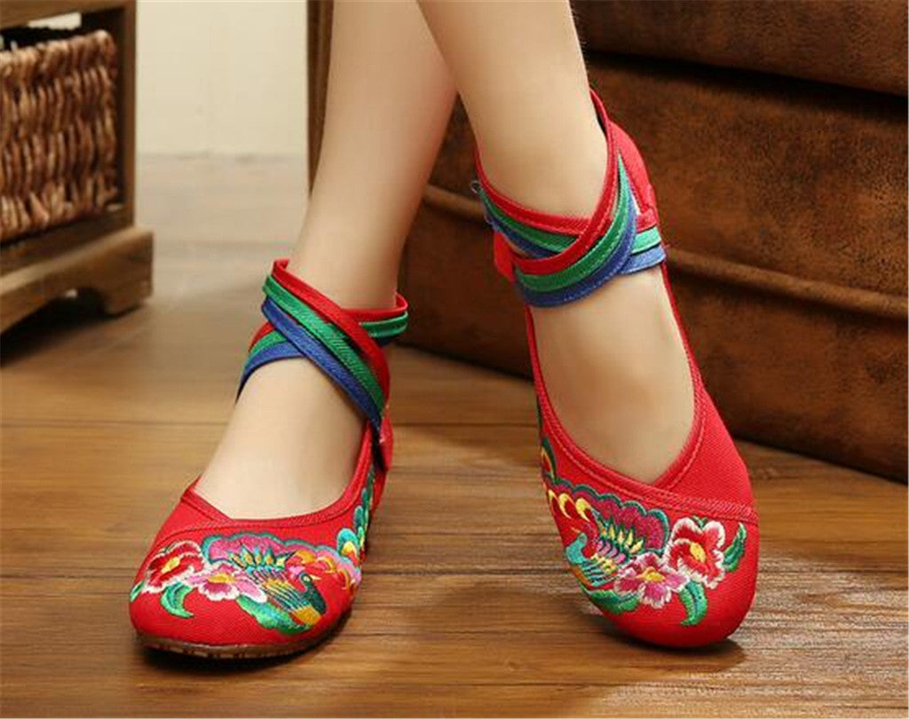 Traditional Embroidered Blue Cotton Mary Jane Chinese Shoes with Colorful Ankle Straps & Bird Design - Mega Save Wholesale & Retail - 4
