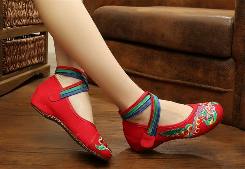 Chinese Embroidered Ballerina Red Mary Jane Shoes for women with Colorful Ankle Straps & Floral Design - Mega Save Wholesale & Retail - 3