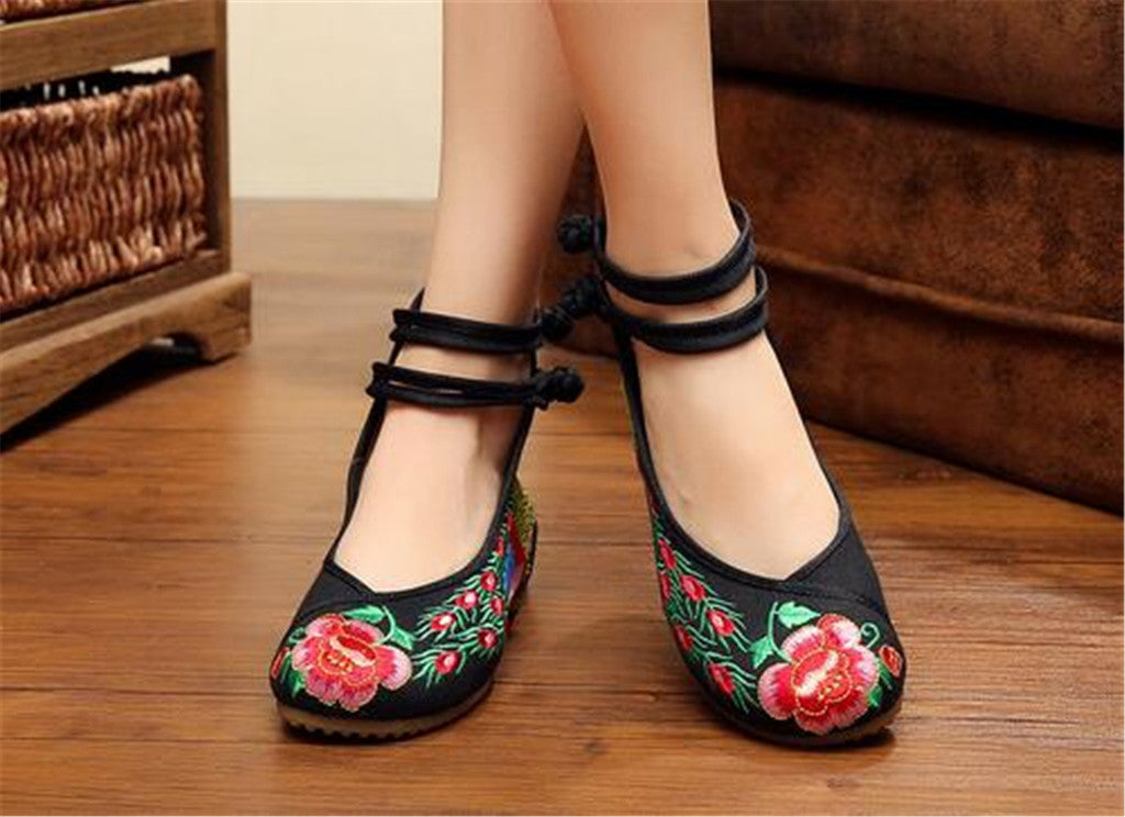 Chinese Embroidered Ballerina Women Elevator Shoes in Double Pankou Black Ankle Straps & Bird Patterns - Mega Save Wholesale & Retail - 3
