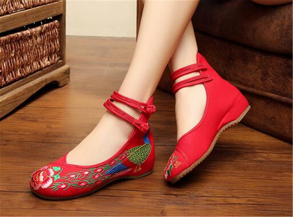 Chinese Embroidered Shoes Women Ballerina  Cotton Elevator shoes Double Pankou Red - Mega Save Wholesale & Retail - 3