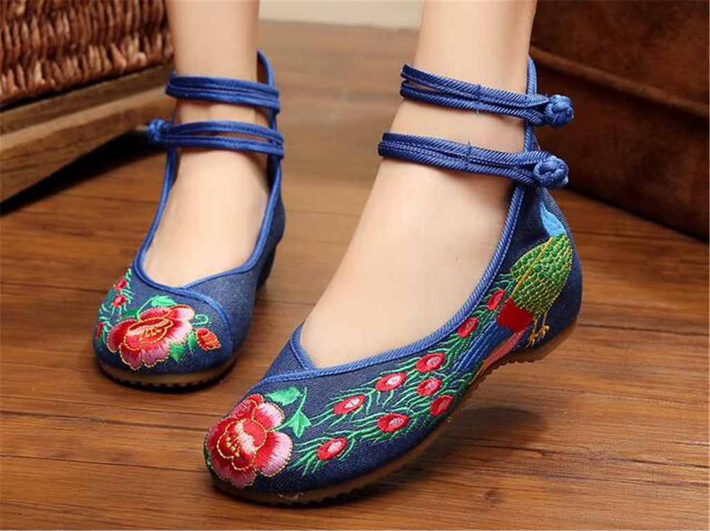 Chinese Embroidered Double Pankou Blue Elevator Shoes for Women in Colorful Design - Mega Save Wholesale & Retail - 2