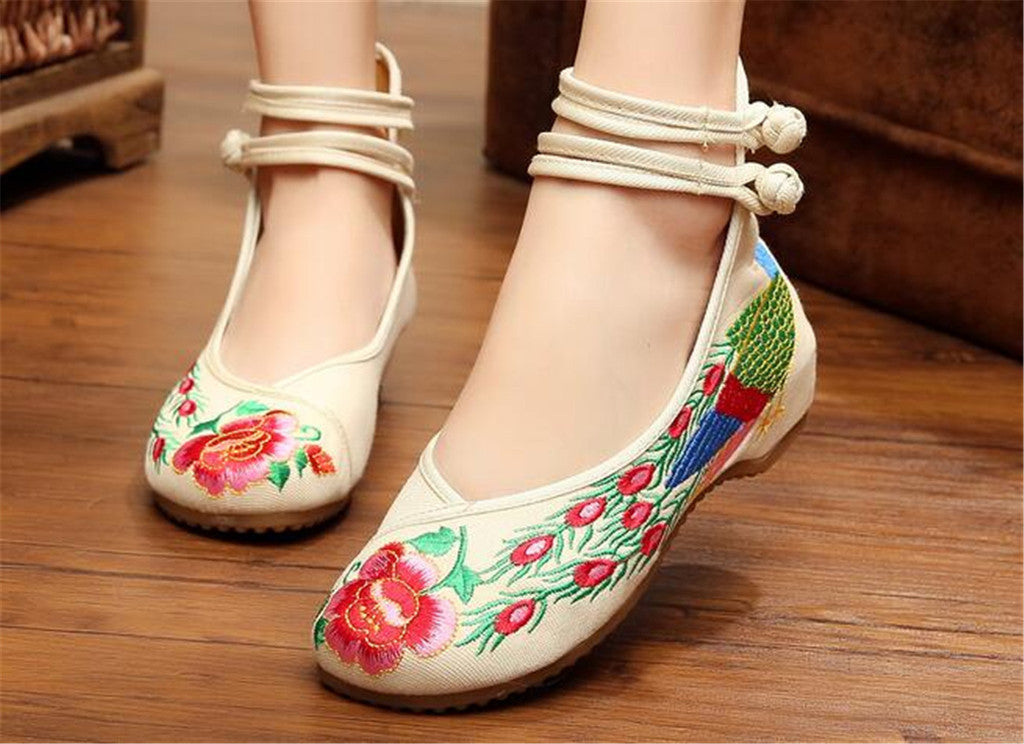Chinese Embroidered Shoes Women Ballerina  Cotton Elevator shoes Double Pankou White - Mega Save Wholesale & Retail - 3