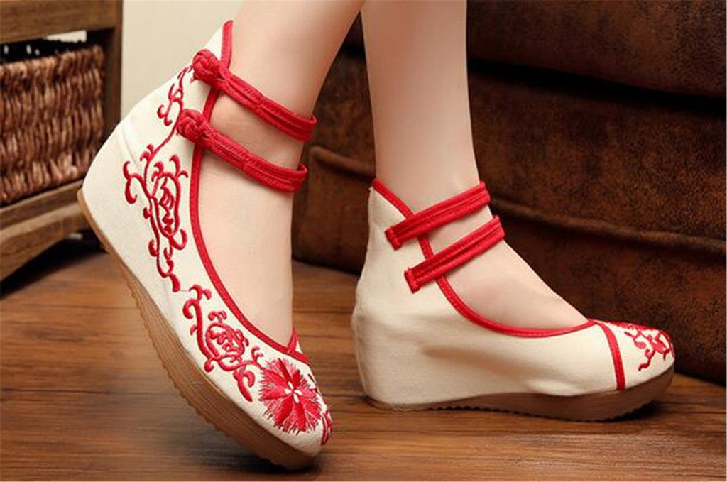 Mary Jane Chinese Shoes in Beautiful Red Embroidery & Ankle Straps with Floral Patterns - Mega Save Wholesale & Retail - 4