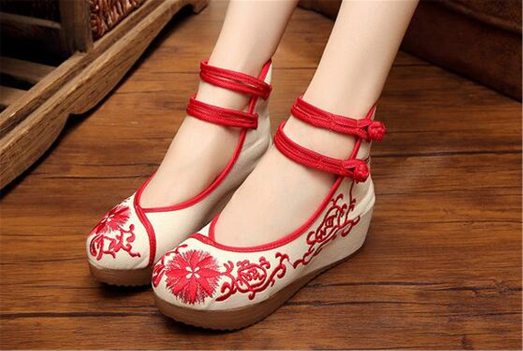 Mary Jane Chinese Shoes in Beautiful Red Embroidery & Ankle Straps with Floral Patterns - Mega Save Wholesale & Retail - 3