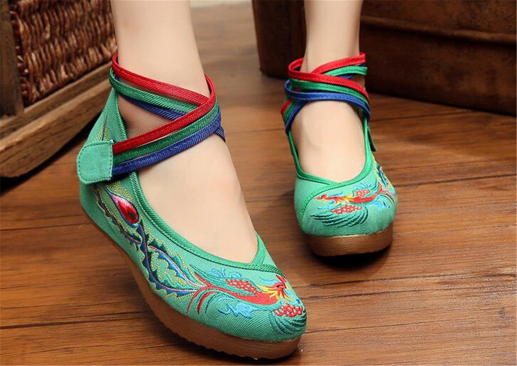 Chinese Embroidered Green Cotton Cheap Elevator shoes for women in Colorful Ankle Straps & Bird Design - Mega Save Wholesale & Retail - 4