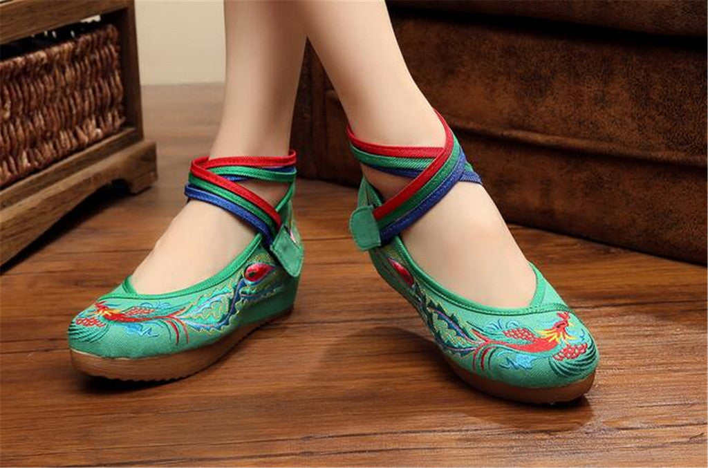 Chinese Embroidered Green Cotton Cheap Elevator shoes for women in Colorful Ankle Straps & Bird Design - Mega Save Wholesale & Retail - 3