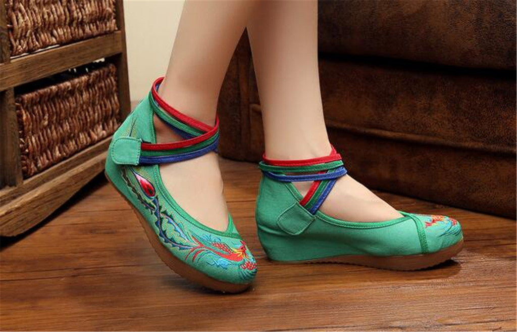 Chinese Embroidered Green Cotton Cheap Elevator shoes for women in Colorful Ankle Straps & Bird Design - Mega Save Wholesale & Retail - 5
