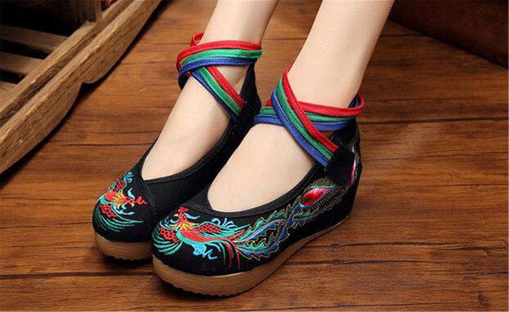 Chinese Embroidered Cotton Black Elevator Shoes for Women in Colorful Ankle Straps & Bird Design - Mega Save Wholesale & Retail - 5