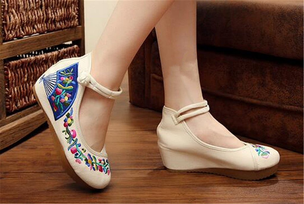 Chinese Embroidered Elevator Ballerina Mary Jane Ladies Shoes in Cotton White Folding Fan Design - Mega Save Wholesale & Retail - 3