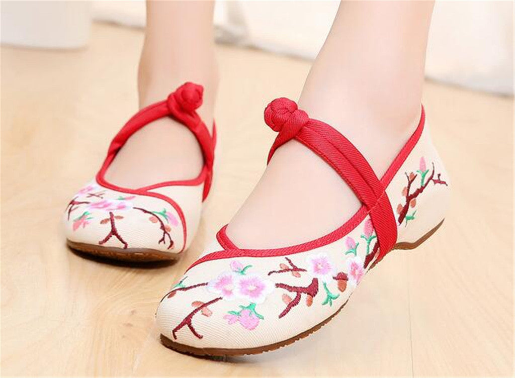 Custom Embroidered Shoes with Lace Straps in Beige & Red Ventilated Cotton & Floral Patterns - Mega Save Wholesale & Retail - 5