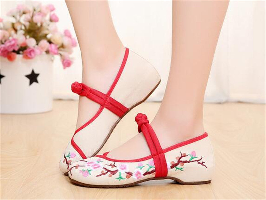 Custom Embroidered Shoes with Lace Straps in Beige & Red Ventilated Cotton & Floral Patterns - Mega Save Wholesale & Retail - 4