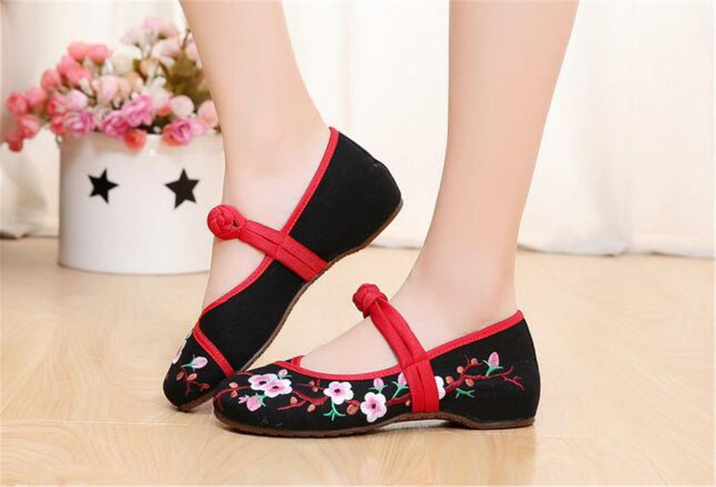 Chinese Embroidered Women Elevator Shoes with Lace Straps in Black Ventilated Cotton & Floral Patterns - Mega Save Wholesale & Retail - 4
