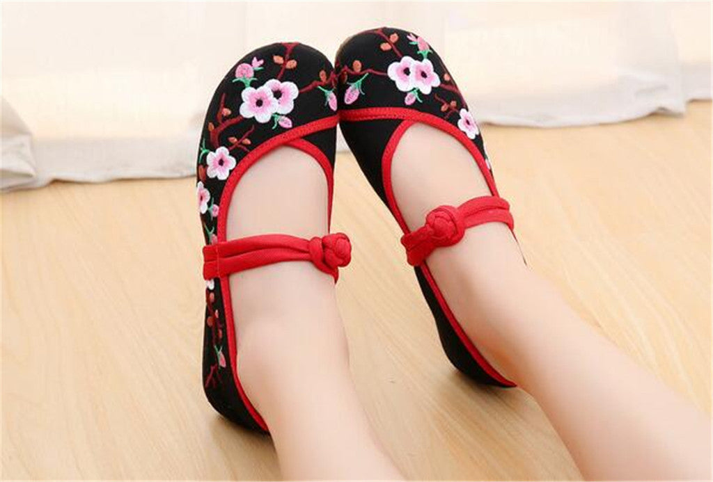 Chinese Embroidered Women Elevator Shoes with Lace Straps in Black Ventilated Cotton & Floral Patterns - Mega Save Wholesale & Retail - 3