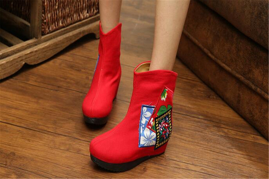 Chinese Velvet Red Elevator Embroidered Boots for Women in Colorful Geometric Designs - Mega Save Wholesale & Retail - 4