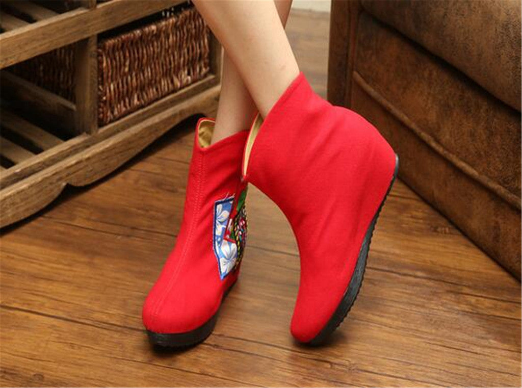 Chinese Velvet Red Elevator Embroidered Boots for Women in Colorful Geometric Designs - Mega Save Wholesale & Retail - 3
