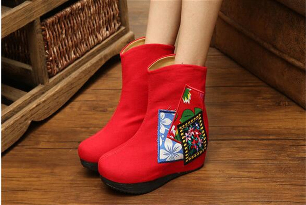 Chinese Velvet Red Elevator Embroidered Boots for Women in Colorful Geometric Designs - Mega Save Wholesale & Retail - 2