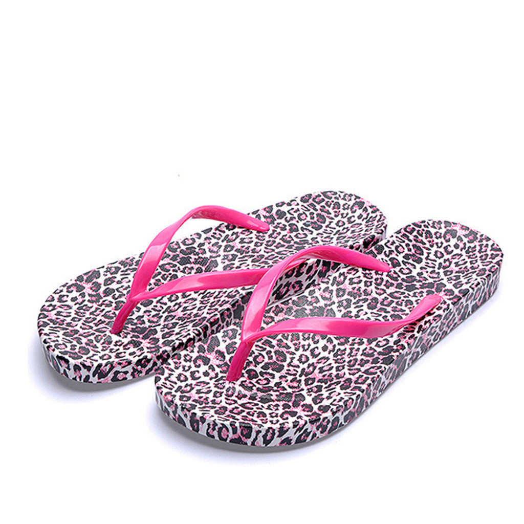 Check Out the New Korean Version of Non-Slip Leather Flip Flops for Women in Casual Summer Style & Red Leopard Print Design - Mega Save Wholesale & Retail - 1