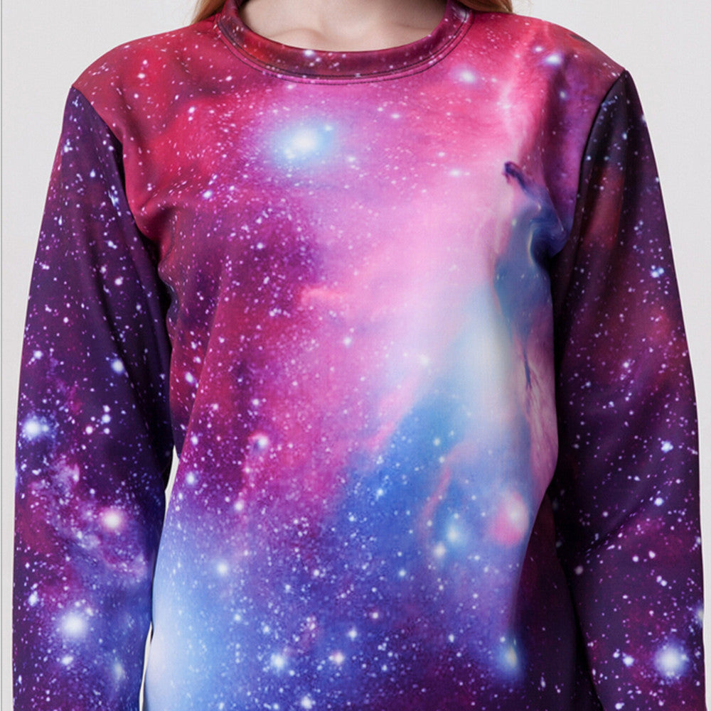 Womens Mens 3D Print Realistic Space Galaxy Animals Hoodie Sweatshirt Top Jumper Purple Star SWS0026 - Mega Save Wholesale & Retail