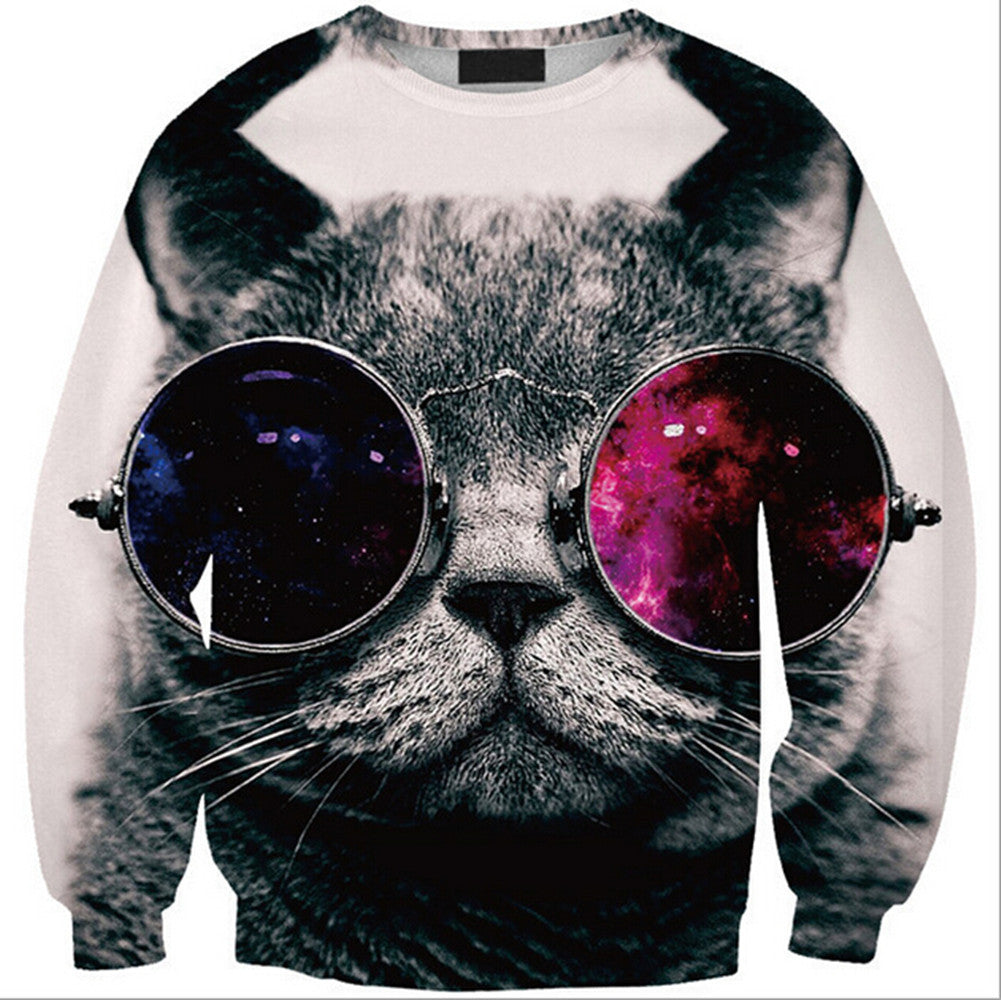 Womens Mens 3D Print Realistic Space Galaxy Animals Hoodie Sweatshirt Top Jumper Glasses cat SWS0207 - Mega Save Wholesale & Retail