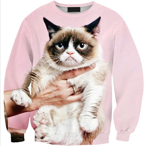 Womens Mens 3D Print Realistic Space Galaxy Animals Hoodie Sweatshirt Top Jumper Pink cat SWS0215 - Mega Save Wholesale & Retail