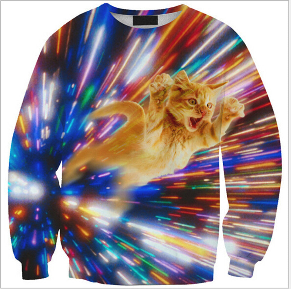 Womens Mens 3D Print Realistic Space Galaxy Animals Hoodie Sweatshirt Top Jumper Yellow cat SWS0232 - Mega Save Wholesale & Retail