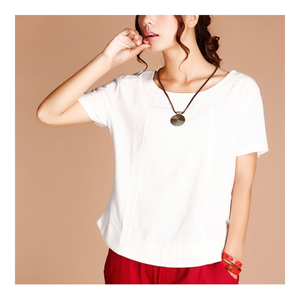 Summer Cotton&Flax Literary T-shirt Women   white   M - Mega Save Wholesale & Retail