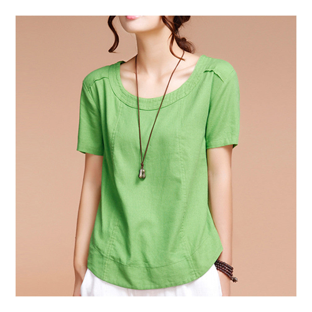 Summer Cotton&Flax Literary T-shirt Women   forest green   M - Mega Save Wholesale & Retail