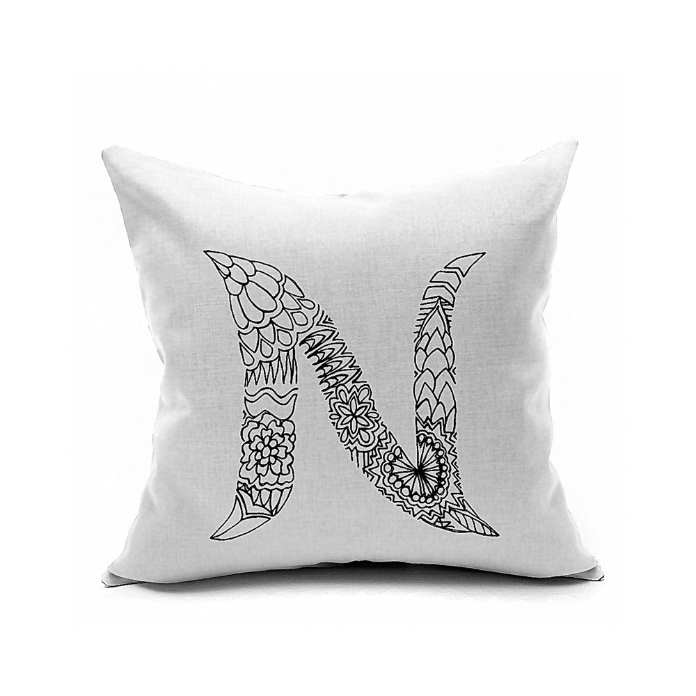Cotton Flax Pillow Cushion Cover Letter   ZM040 - Mega Save Wholesale & Retail